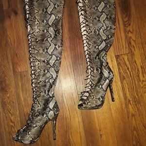 Beige Python Front Lace Peep Toe Thigh High Boots